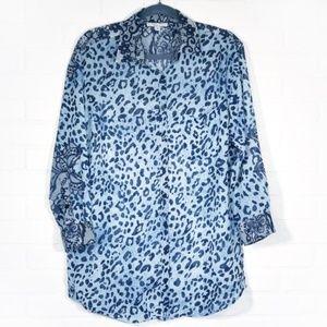 Blue Leopard Lace Print Sheer Button Blouse Top